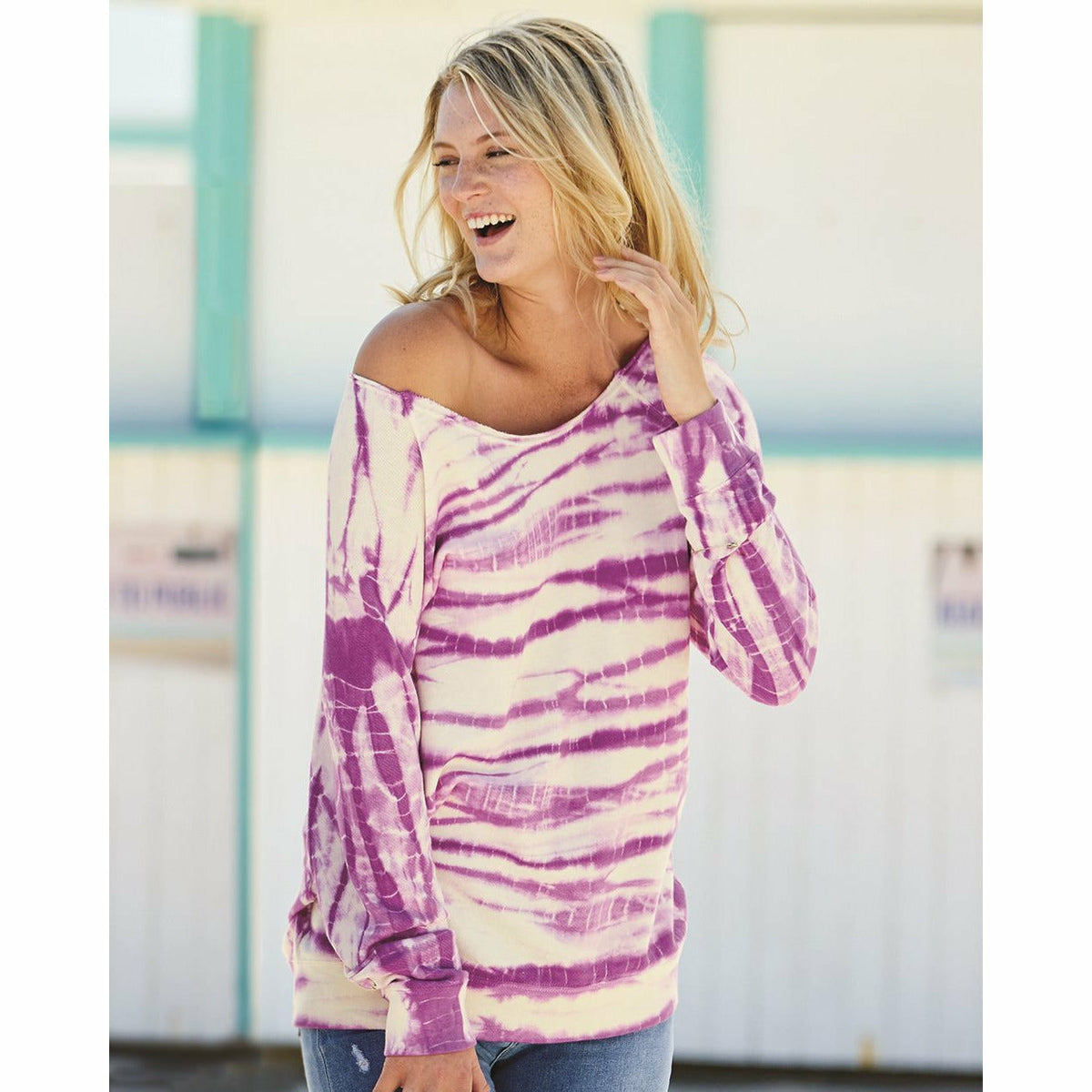 Off-the-Shoulder Tie-Dyed Sweatshirt