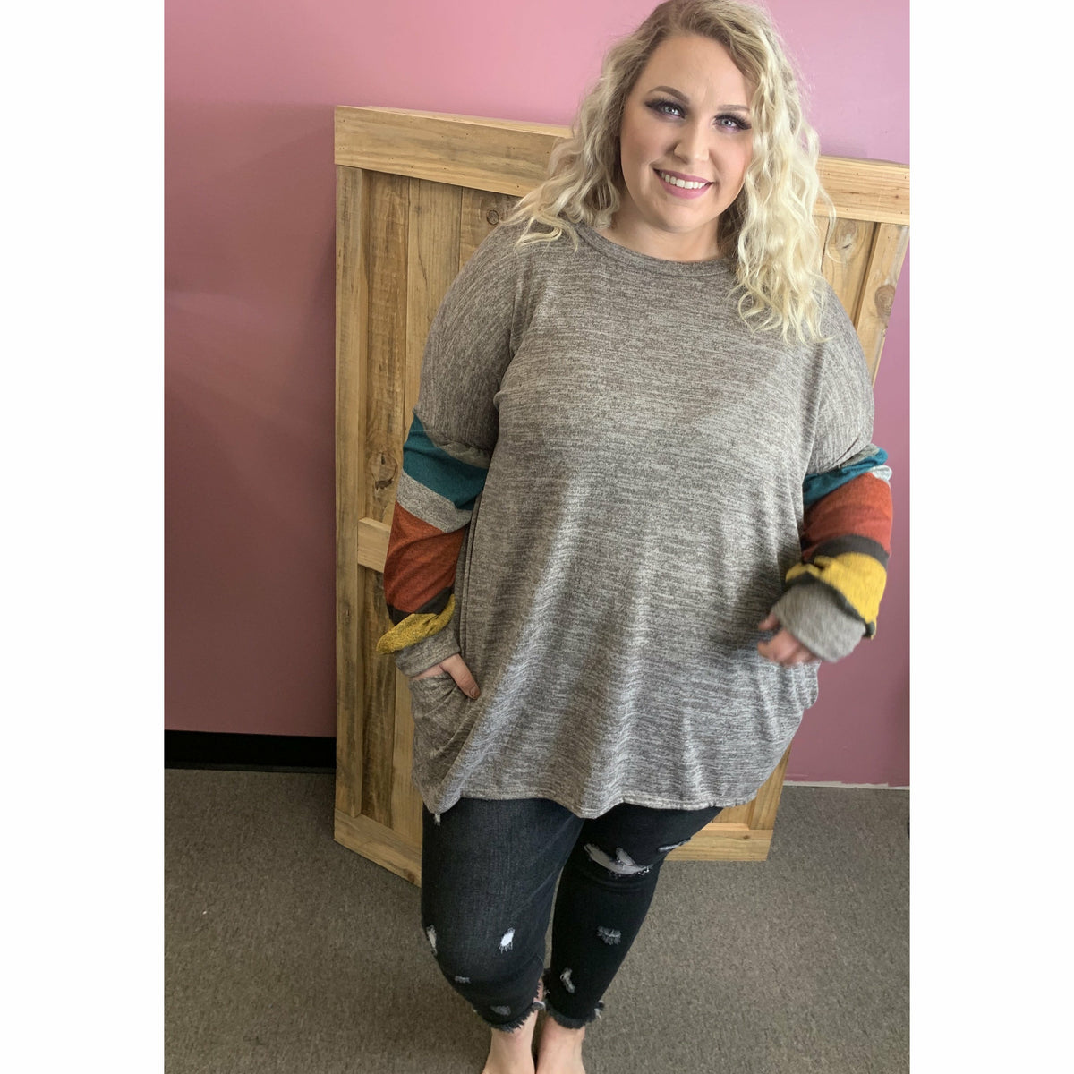 Taupe it off Stripe top  (regular & plus)