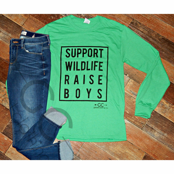 Support Wild Life Raise Boys Long Sleeve - Gabriel Clothing Company