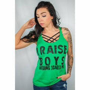 I raise boys nothing scares me Racerback Tank top