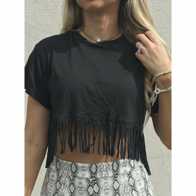 Black  Fringe Hippie Crop