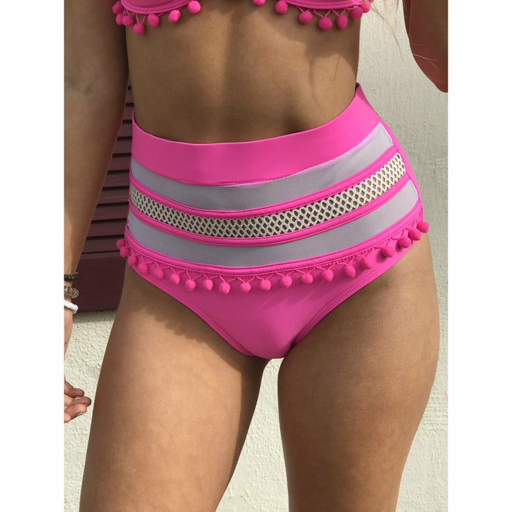 Pink pom high waisted bikini (sold separately)