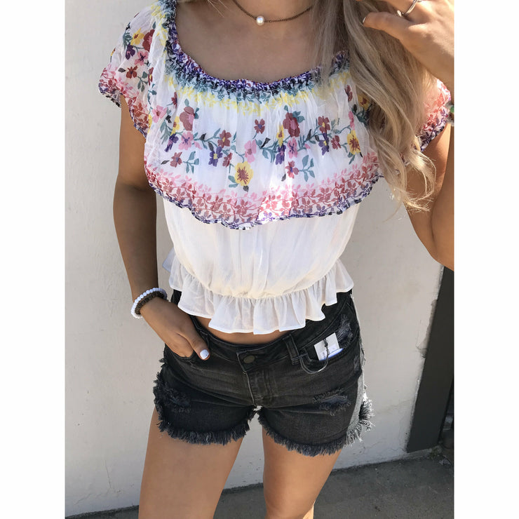 Floral Babe shoulder boutique top
