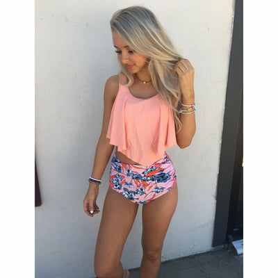 High Waisted Coral Floral Swim