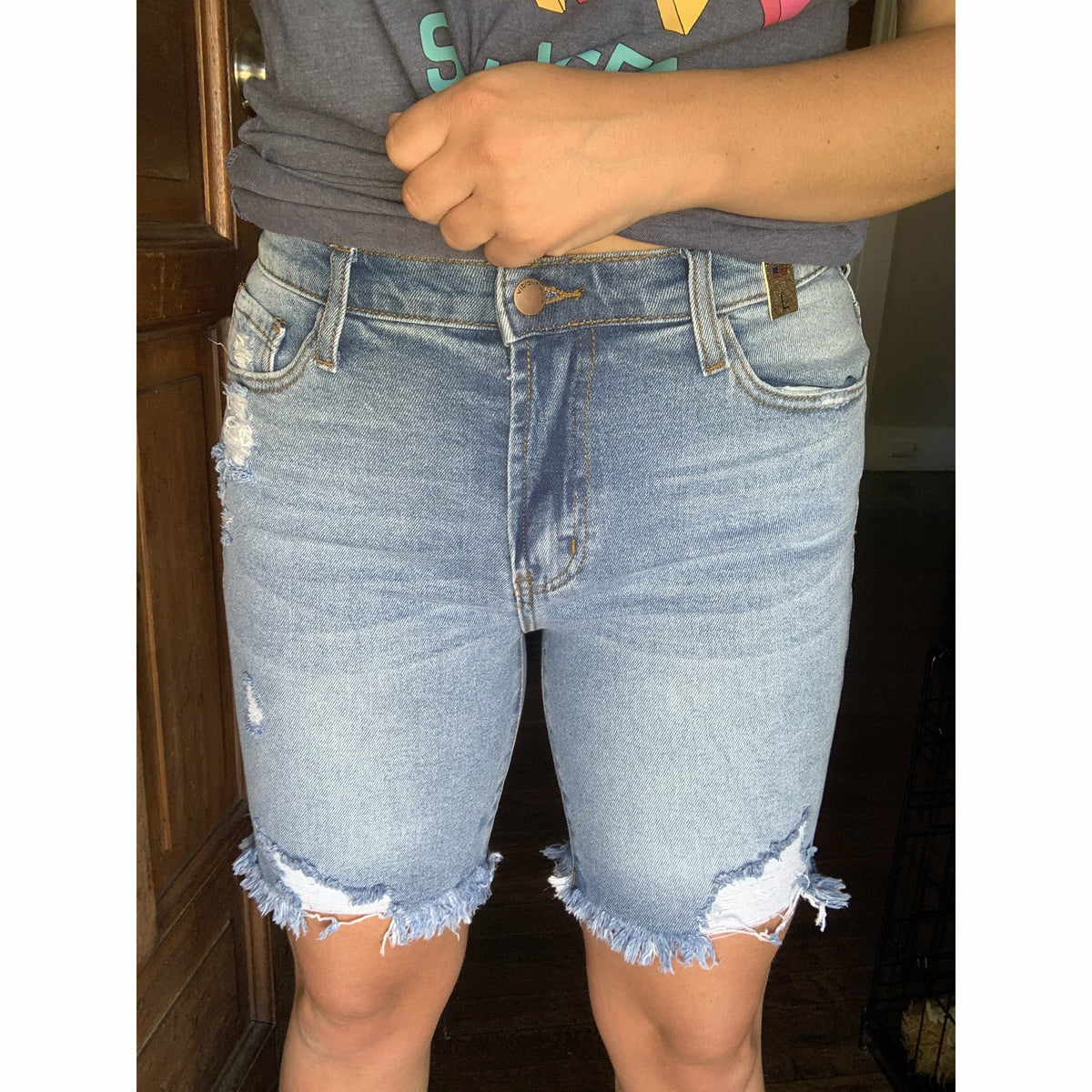 Midi Distressed Vibrant Shorts