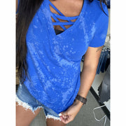 bleached blue criss cross tee