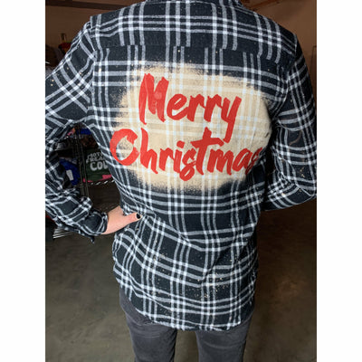 Merry Christmas Acid Wash Flannel