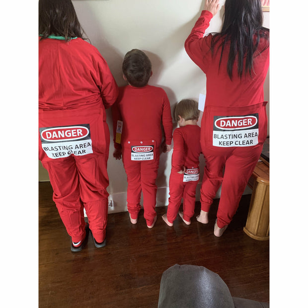 "Red Suit with Funny Butt Flap ""DANGER BLASTING AREA"" ADULT & KIDS"