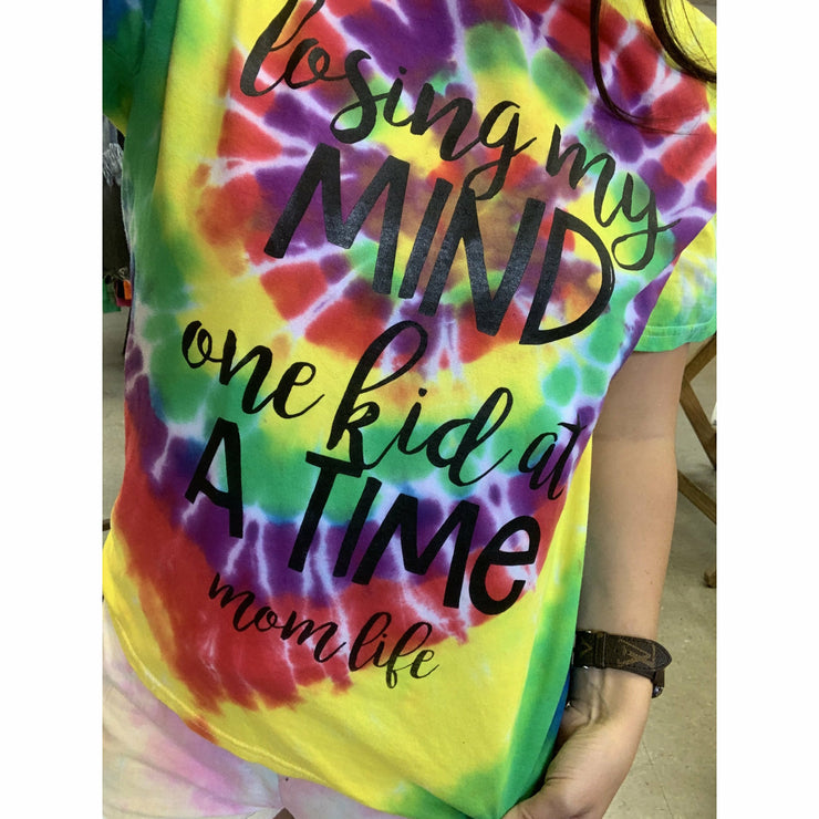 Losing my mind dark neon tie dye tee