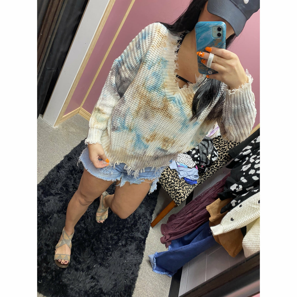 Into the night Tie Dye distressed sweater (regular or plus)