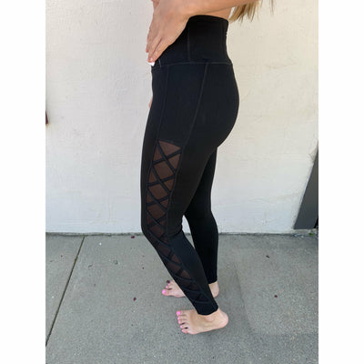 Lace up Mesh side leggings