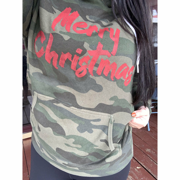 Merry Christmas Red ink -Camo Hoodie