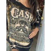 Black Johnny Cash T-Shirt Dress
