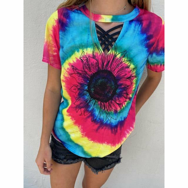 Sunflower tie Dye with the Black Strappy Detail boutique
