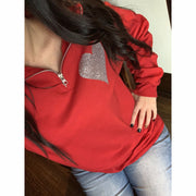 Valentine's Day Pullover Silver Glitter Heart with elbow patches (2 colors)