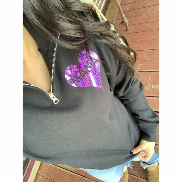 Purple Holographic  Heart Pullover in Black