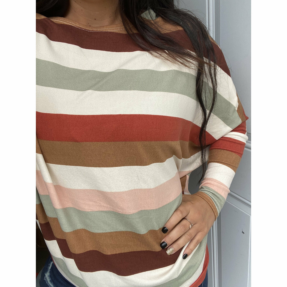 Fall in love stripe off the shoulder boutique