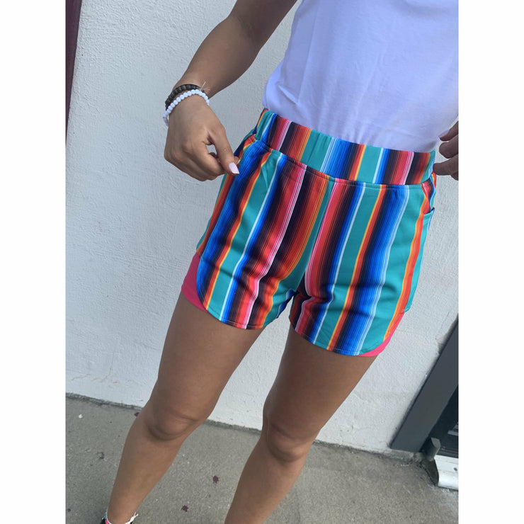 Teal Serape Workout Shorts  (s-3X)