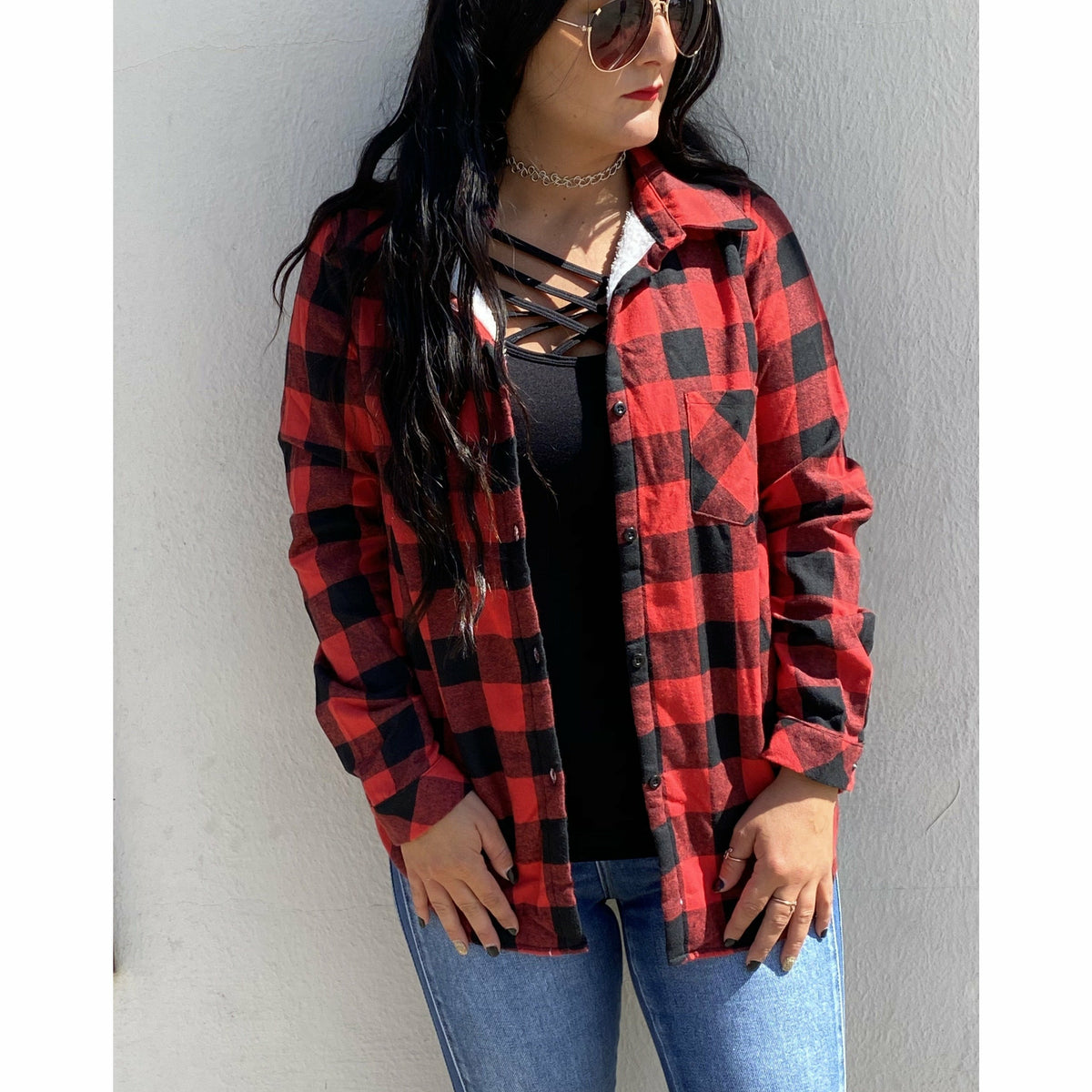 Red/Black Buffalo Plaid lined Flannel (regular & Plus)