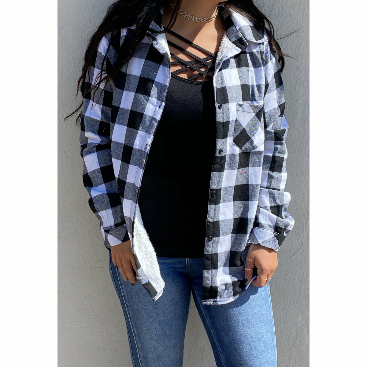 White/Black Buffalo Plaid lined Flannel (regular & Plus)