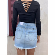 Kancan Belted Denim Skirt