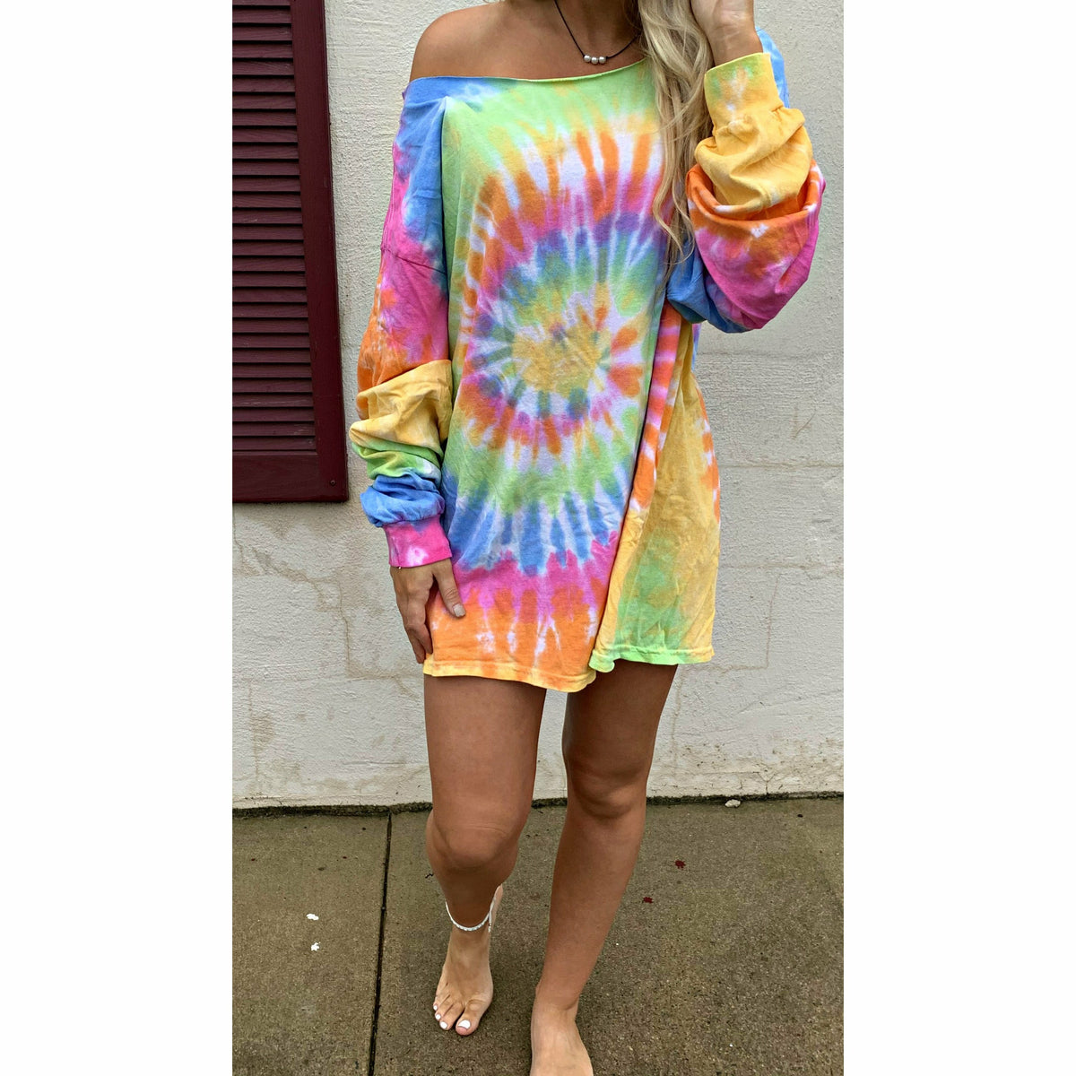 Pastel Tie Dye Long Sleeve T-Shirt Dress