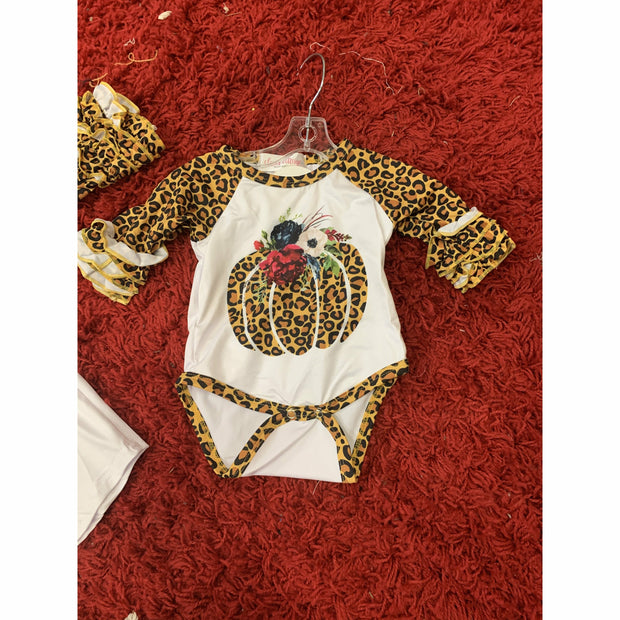 Infant cheetah pumpkin onesie