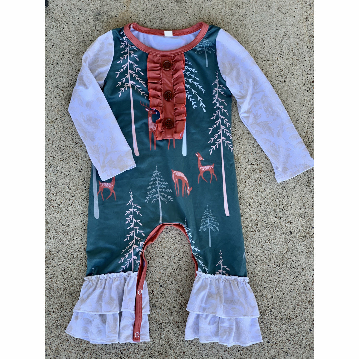 Green Deer Lace infant Romper
