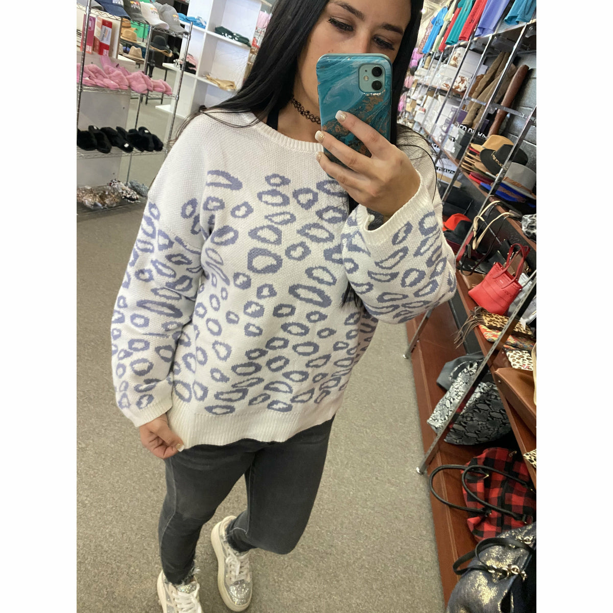 our Favaorite White/Grey Cheetah Sweater