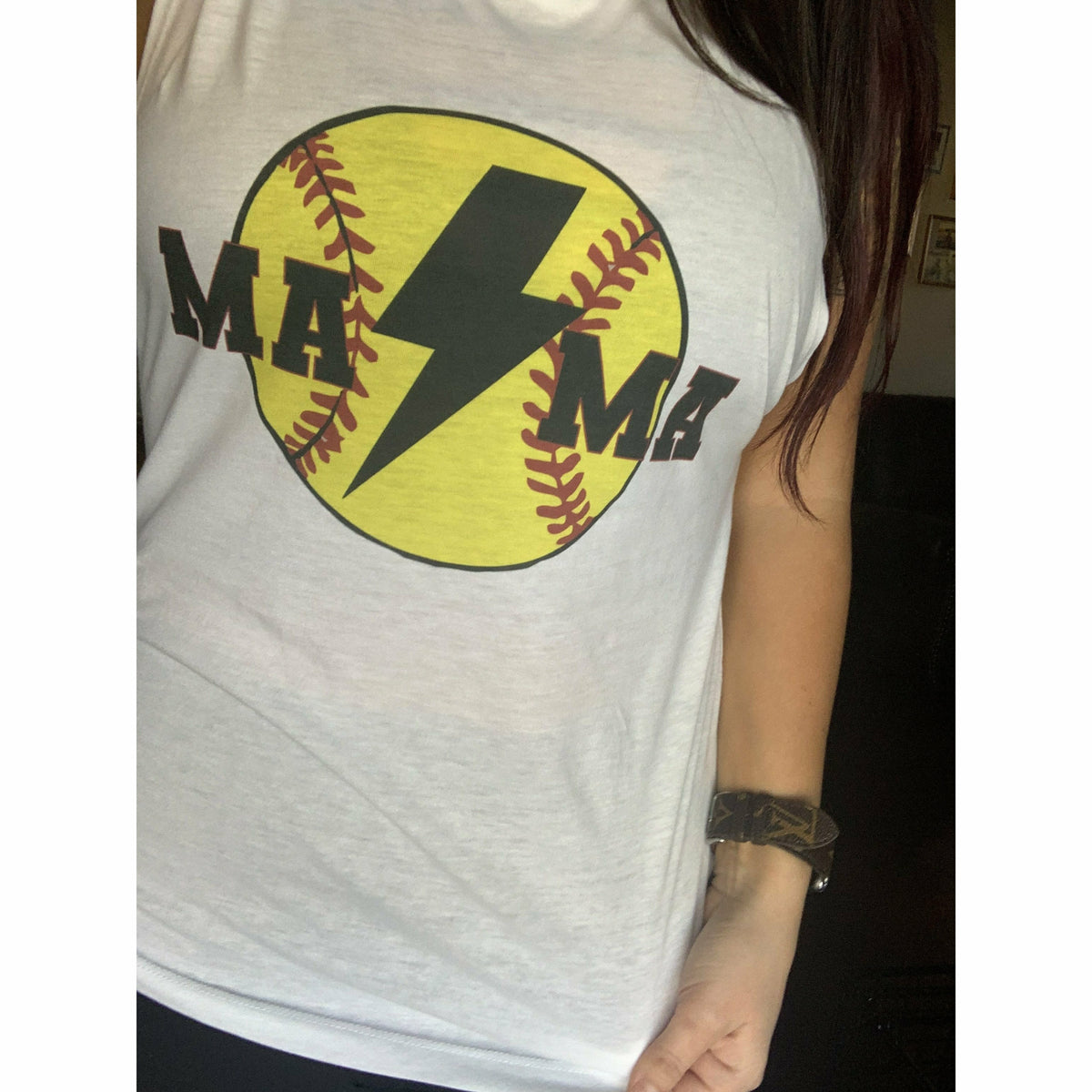 softball bolt Mama tee or tank top