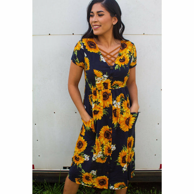 Night Navy Sunflower Dress
