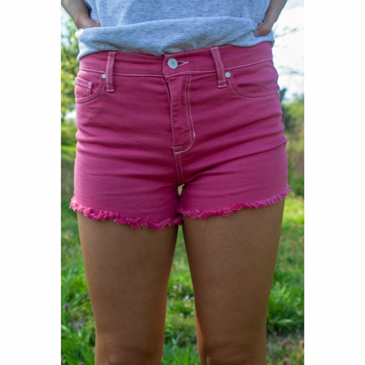 Mom Denim Shorts (pink)