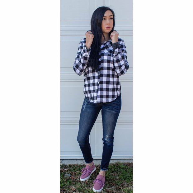 Faux Lined Flannel  Black & White - Gabriel Clothing Company