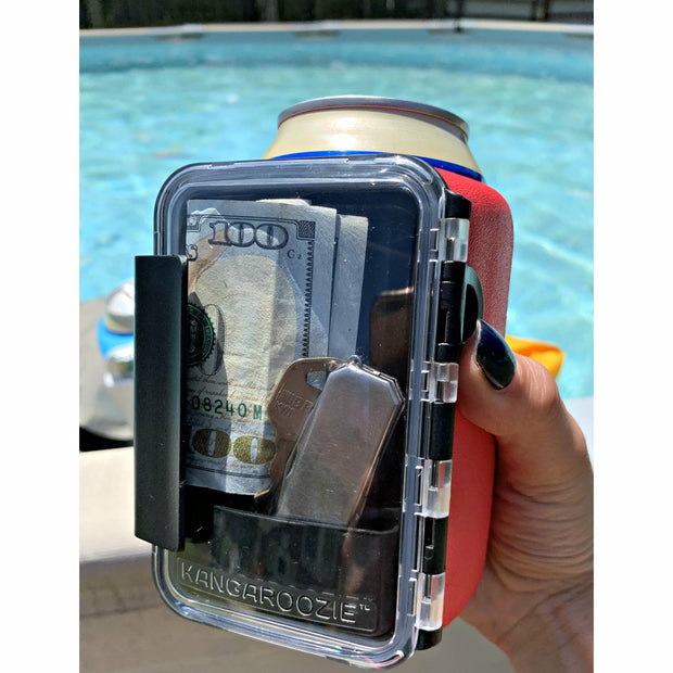 Red beverage holder with Waterproof storage