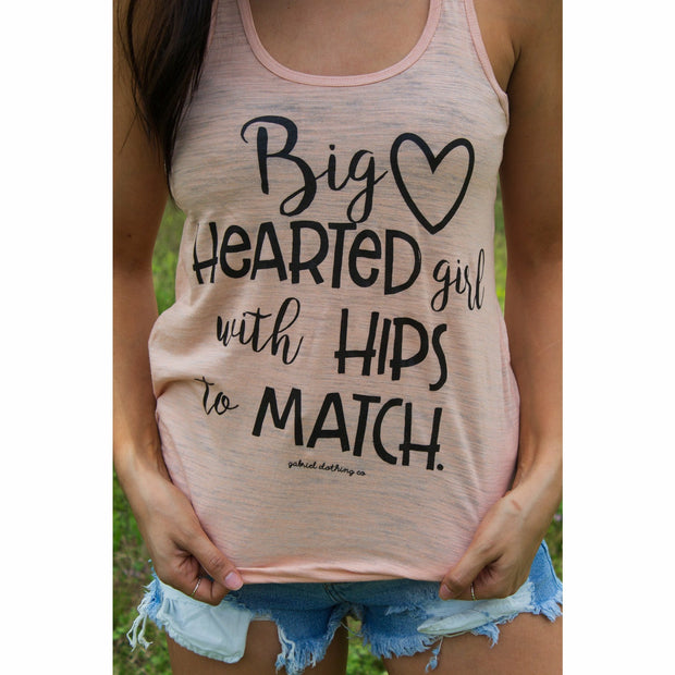 Big hearted girl with hips to match racerback tank