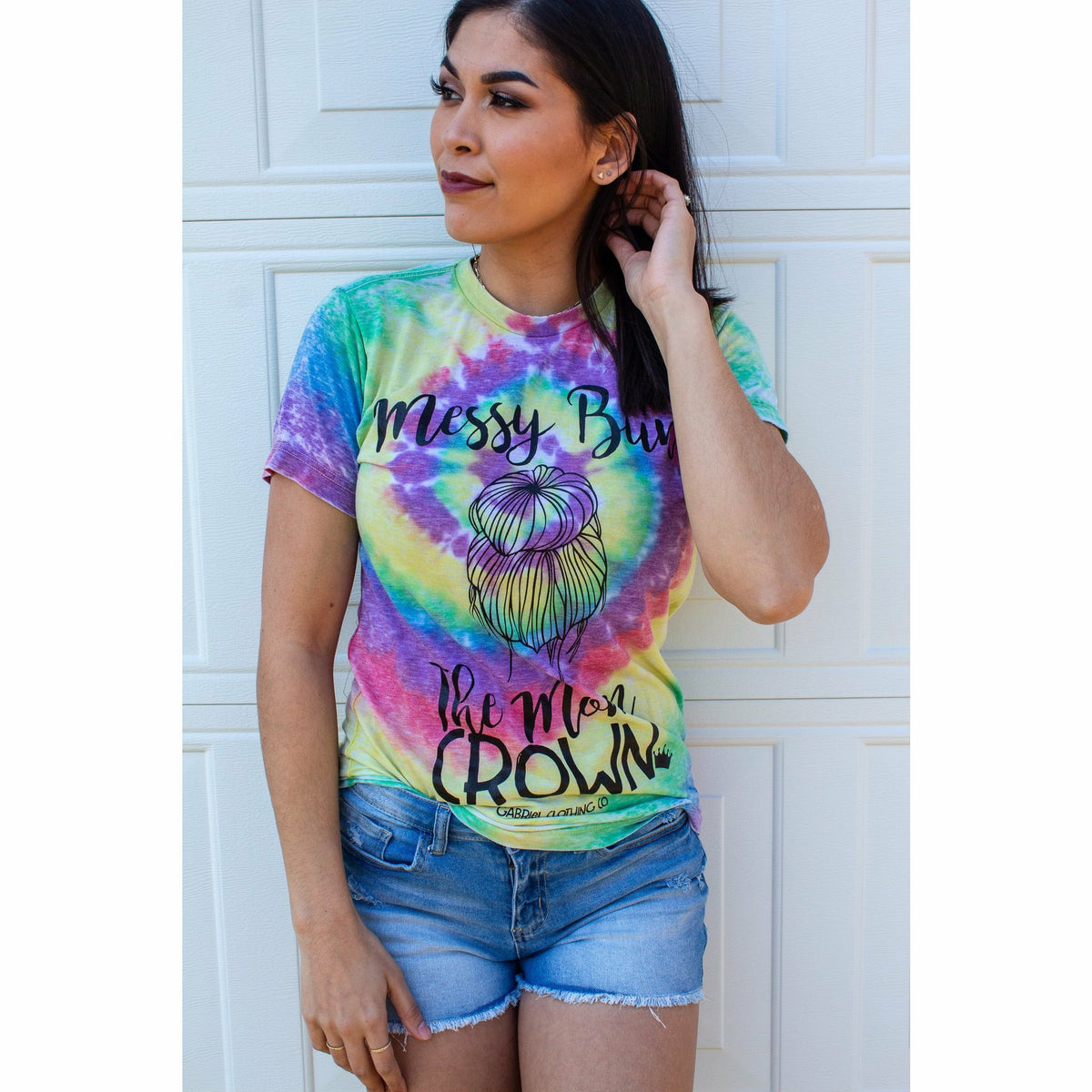 Messy Bun Mom Crown Tie dye tee