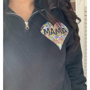 Silver Holographic  Heart Pullover in Black