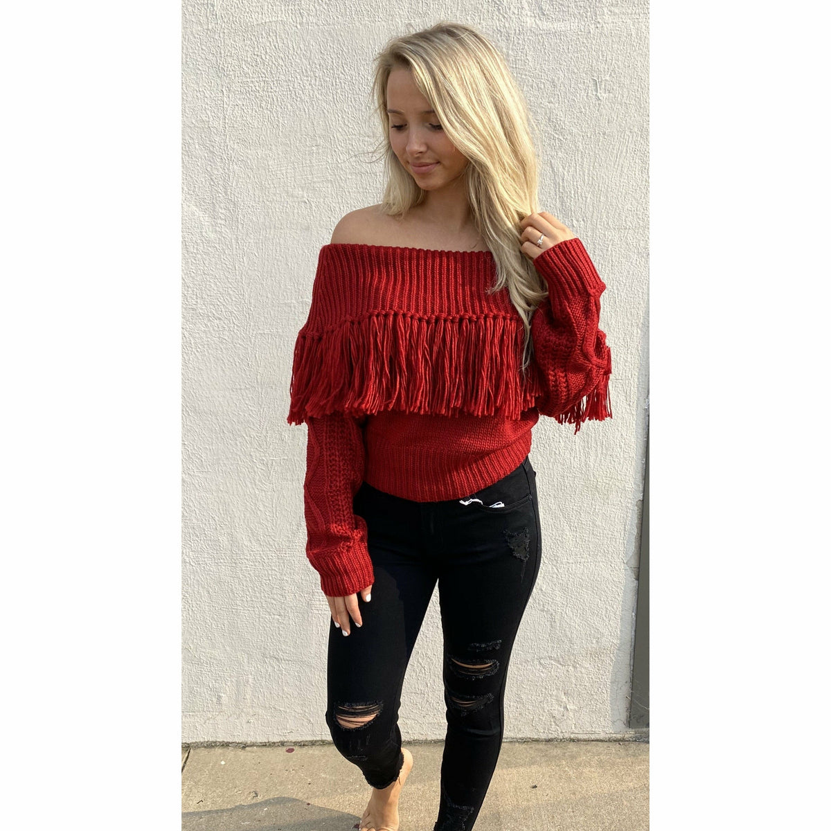 Red Fringe Off the Shoulder Sweater