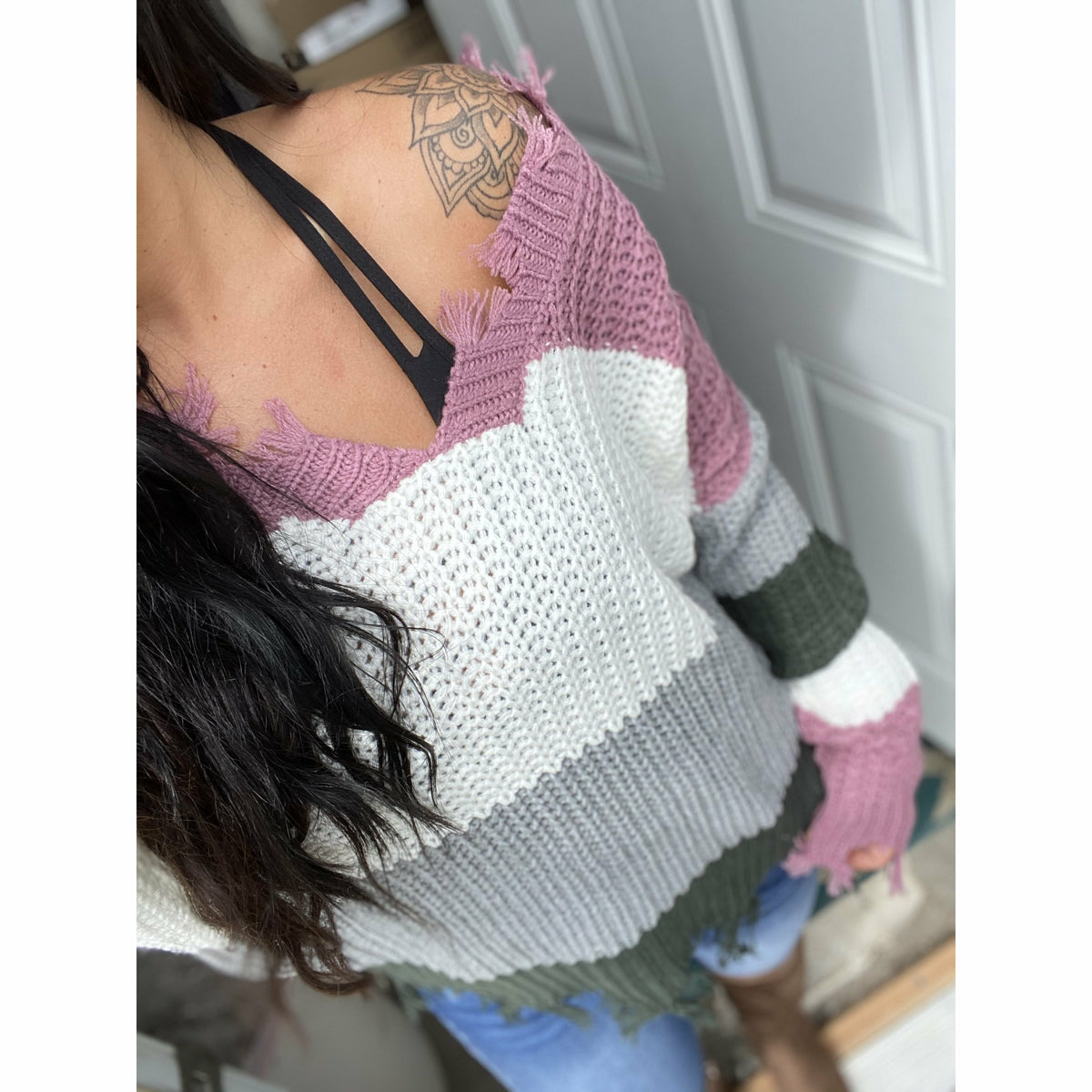 Lyss Grey/Orchid Sweater