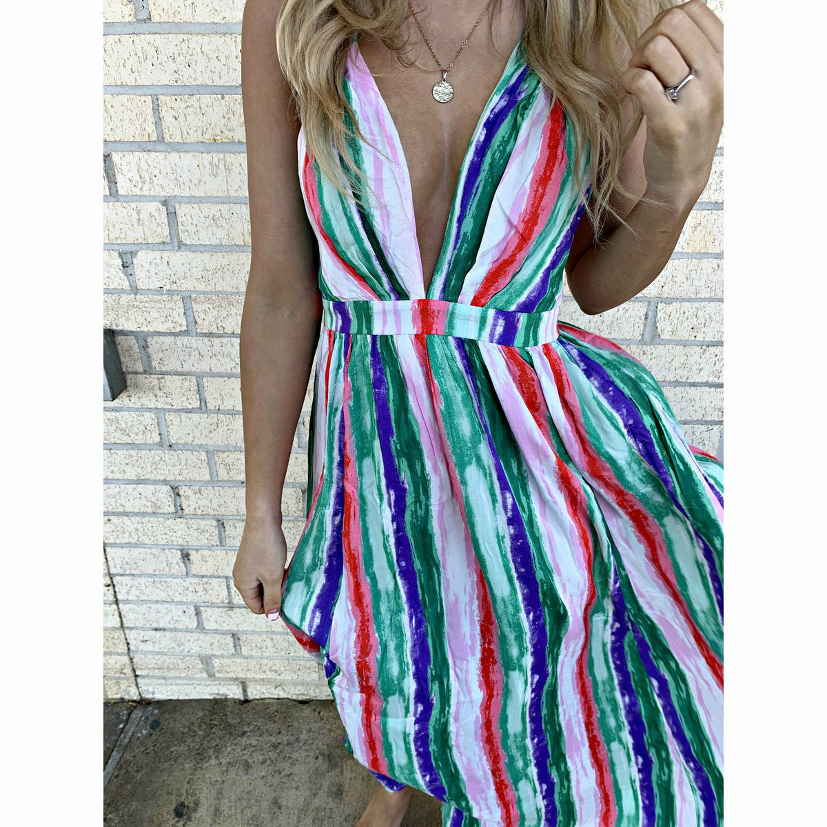 Let's Cruise Color Contrast Maxi Dress
