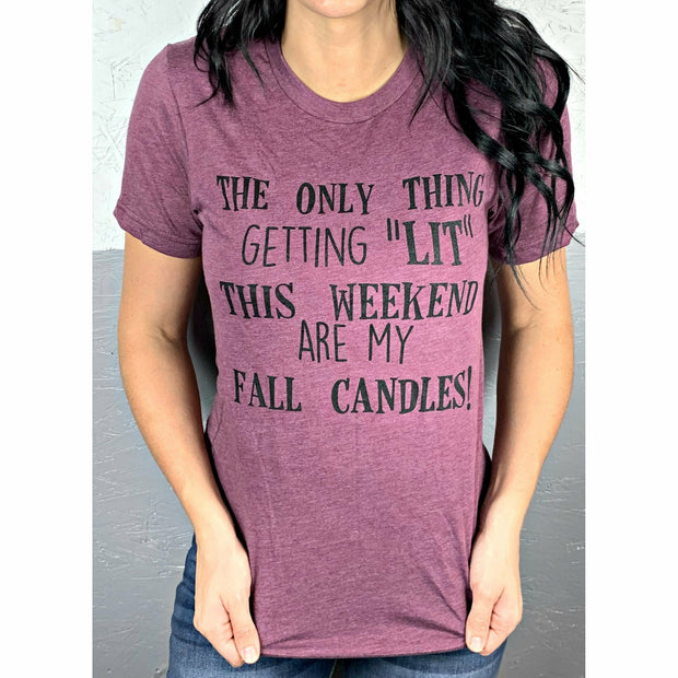 Fall Candles getting lit tee