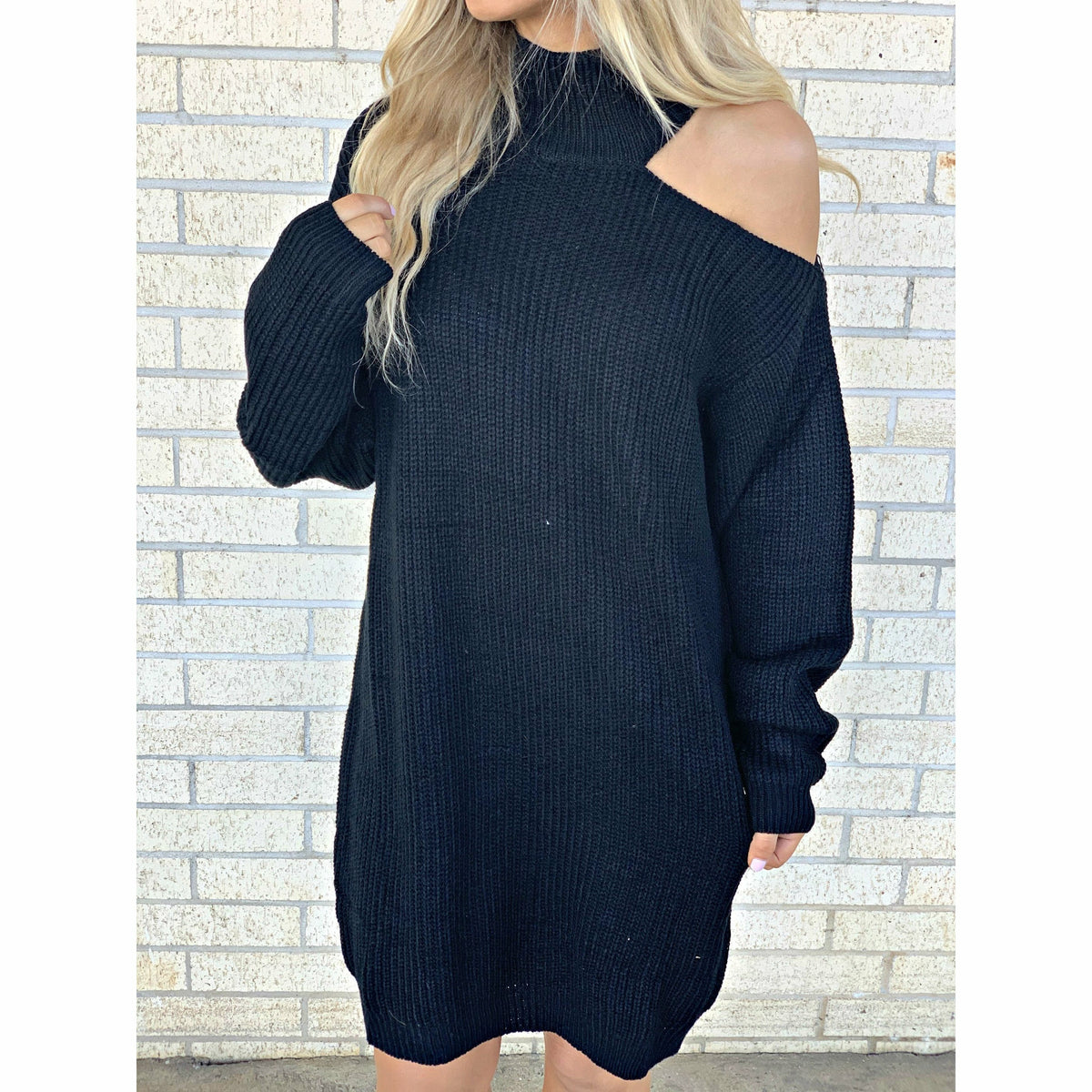Court One Shoulder Sweater dress