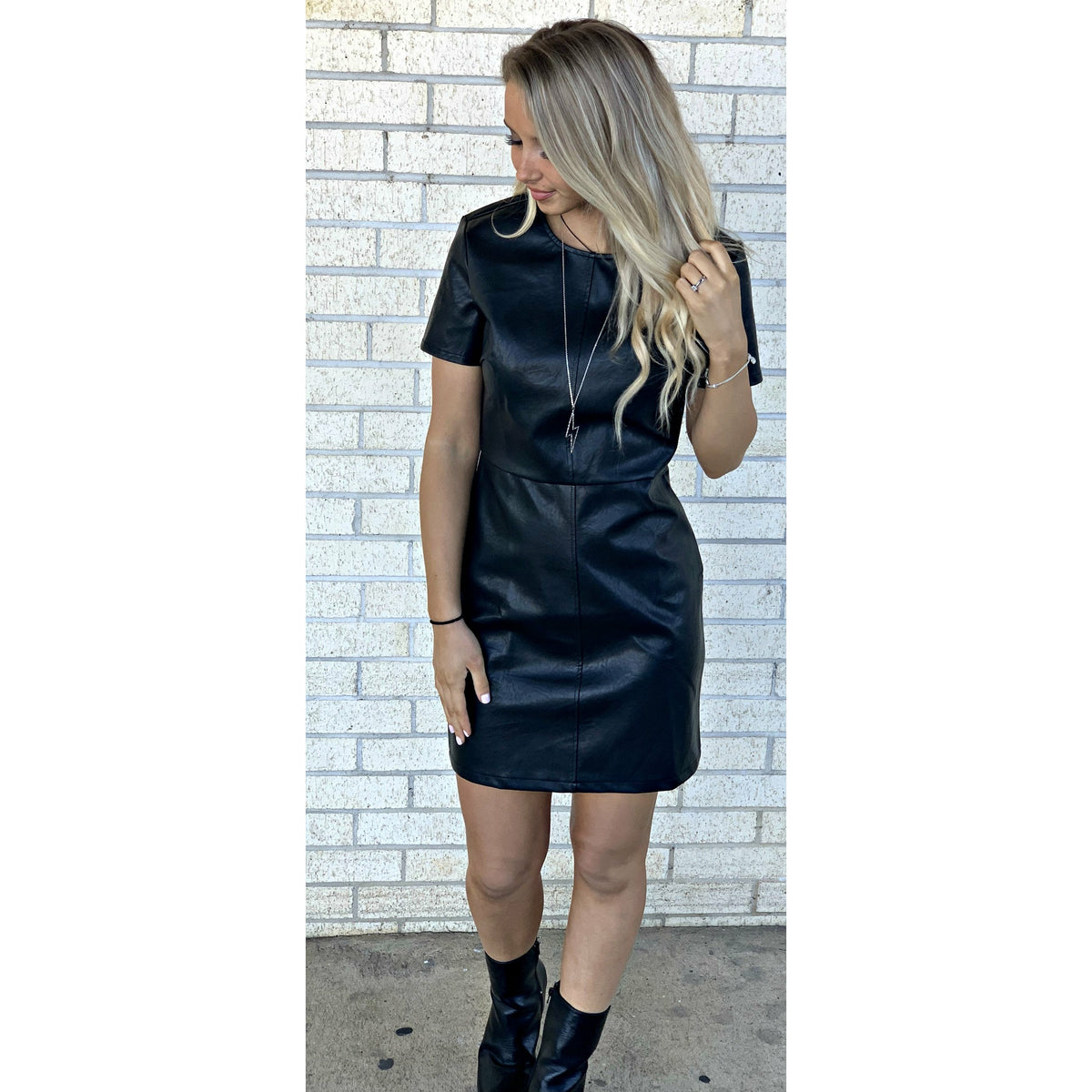 Allie Faux Leather Black Dress