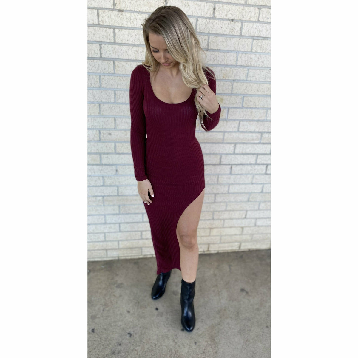 Cancun Maroon Fitted Slit Dress