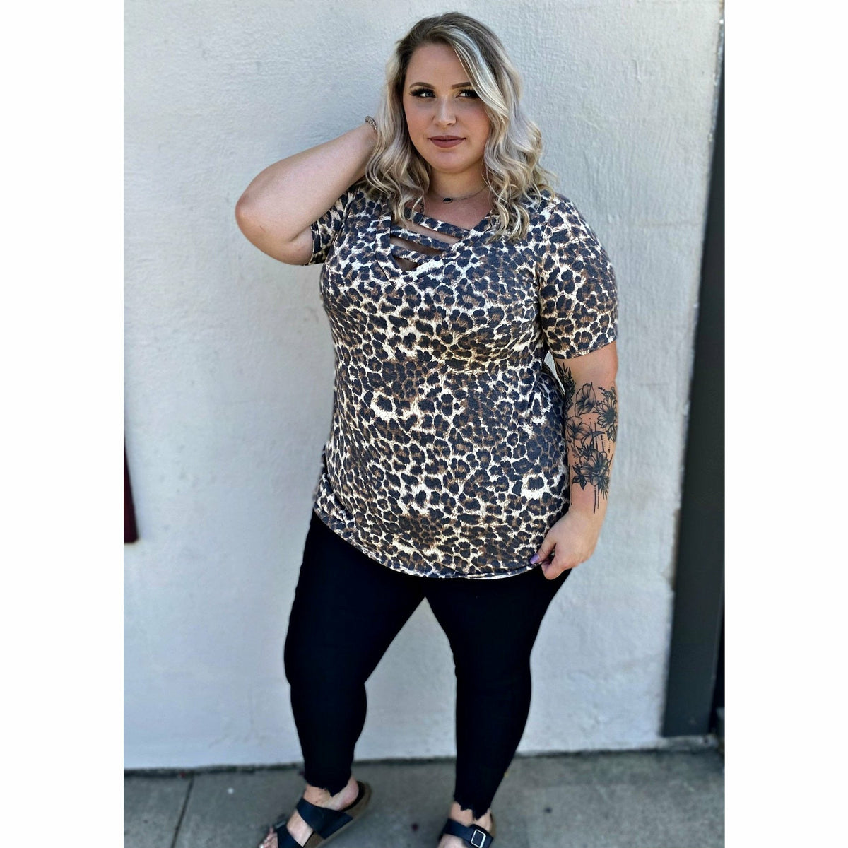 Cheetah Cross Top (regular and plus)
