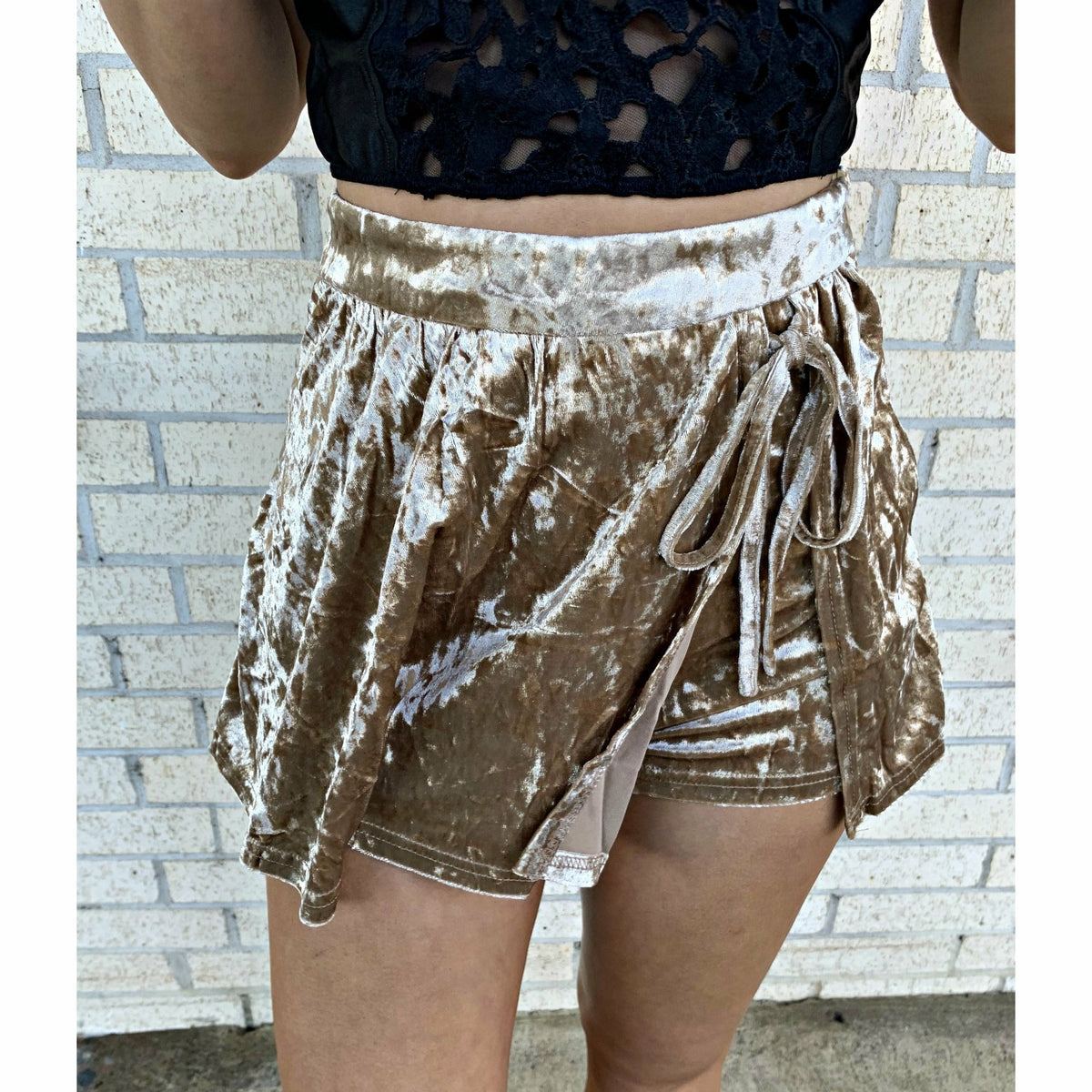 Vivi Velvet Tan Wrap Shorts