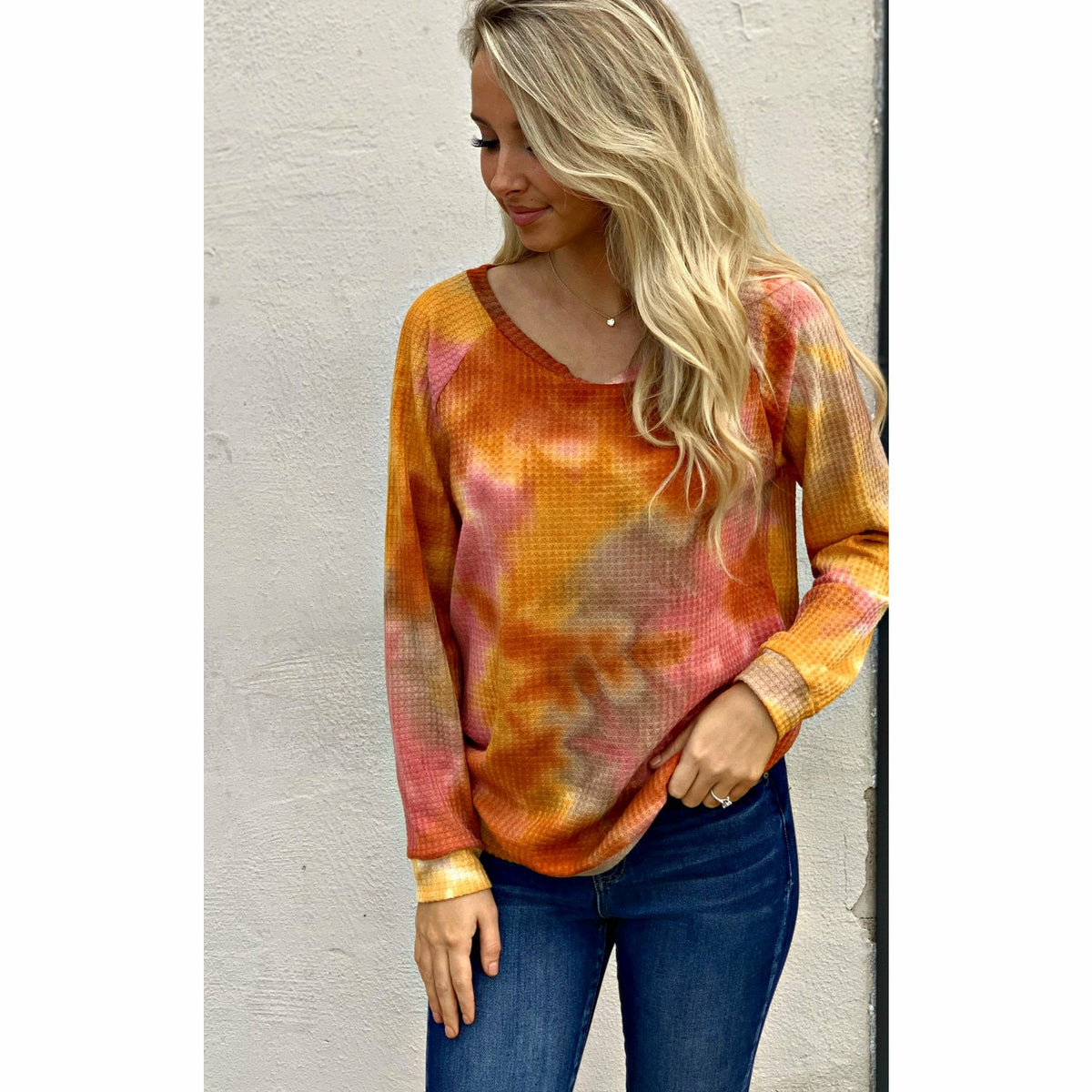 Orangish Fall Tie Dye Top