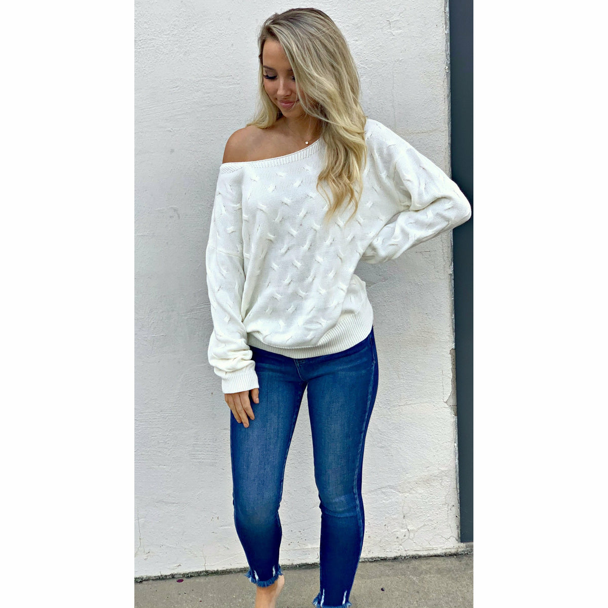 White Knit Boatneck Sweater