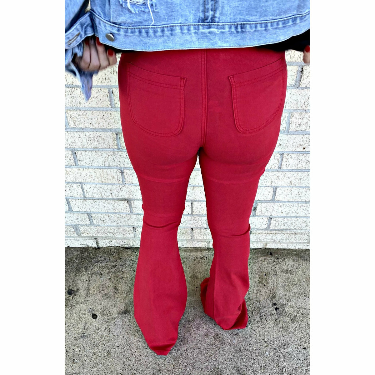 Red Bell Bottom Flare Jean