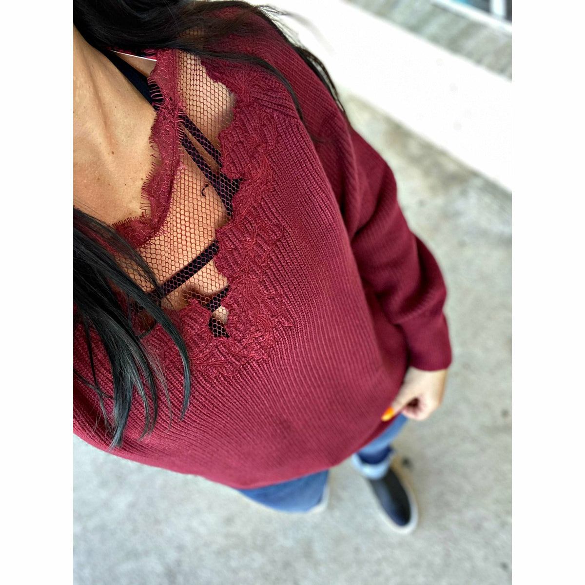 Meshed lace Floral Neck Maroon Top